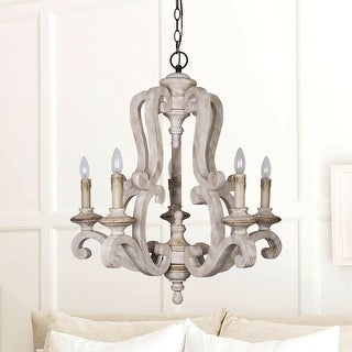 Link to Antique White 5-light Wood Candle Chandelier Similar Items in Chandeliers