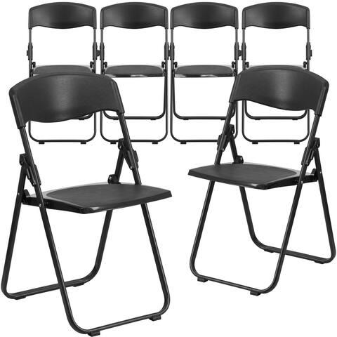 6PK 500 lb. Capacity Heavy Duty Folding Chair - Built-in Ganging Brackets
