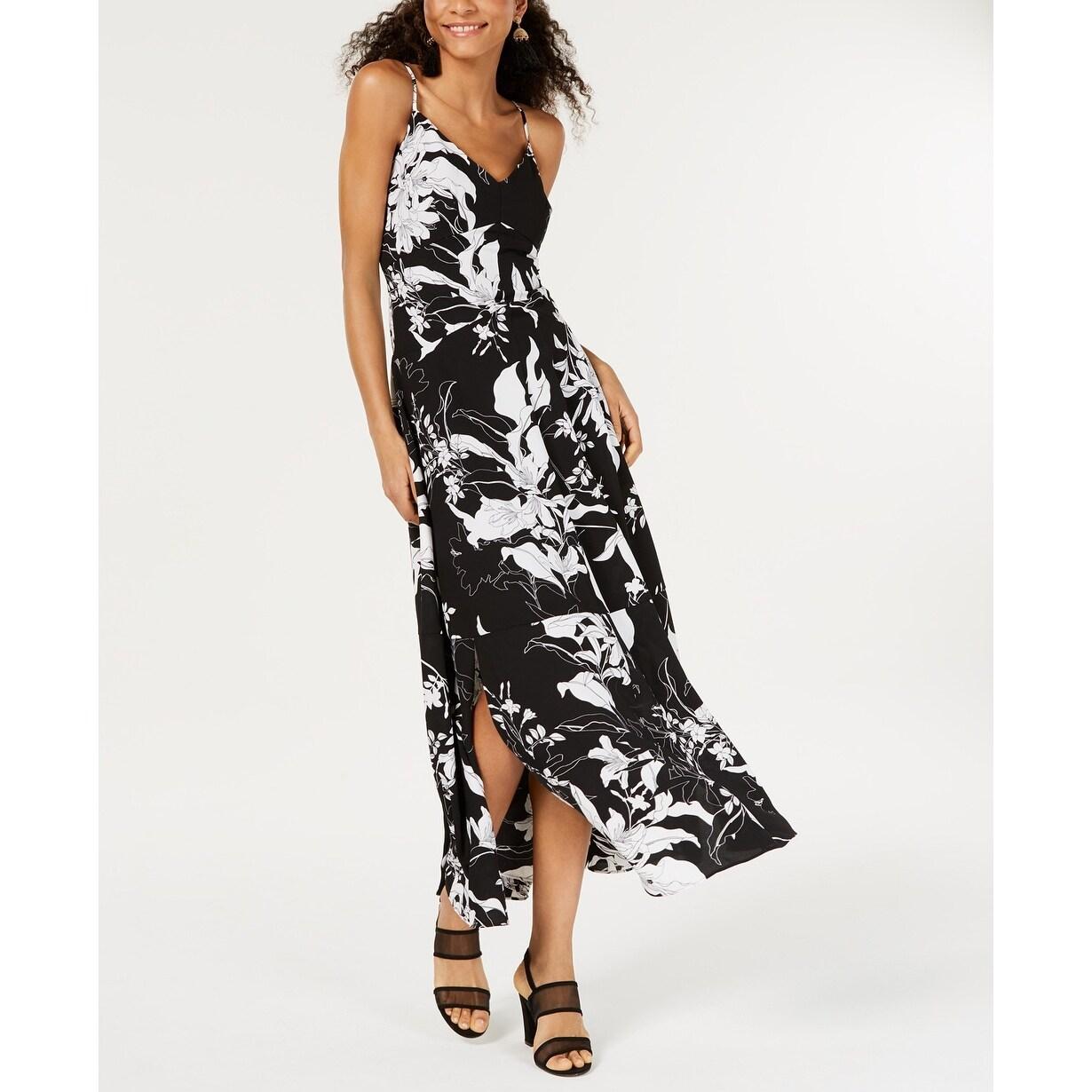 $298 Bar Iii Women/'S White Floral-Printed V-Neck Sleeveless Maxi Dress Size 8