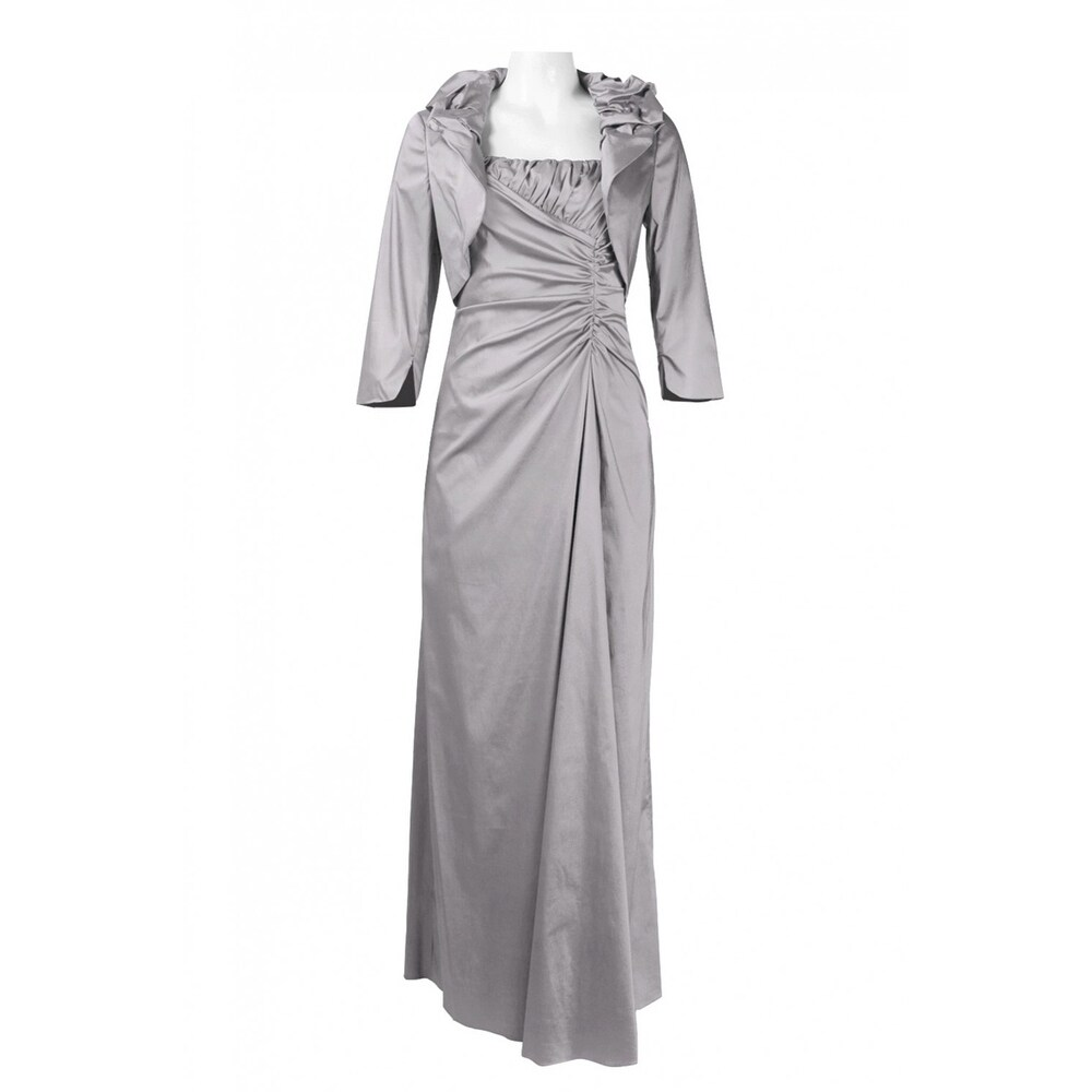 Adrianna Papell Spaghetti Strap Ruched Side Iridescent Satin Dress Silver Grey 8