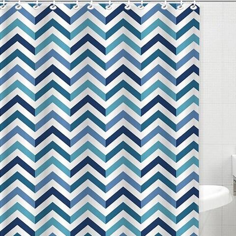 Bath Bliss Dobby Weave Shower Curtain Set, Sapphire Chevron Design, 70x72 Inches - N/A