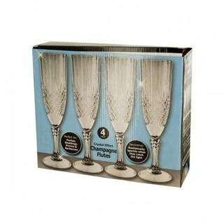Bulk Buys OF812 Crystal Effect Champagne Flutes Set, Transparent
