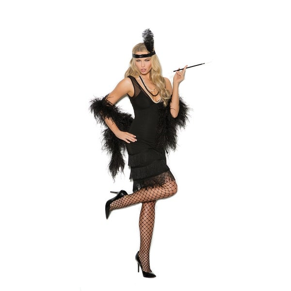 891840f75e Flapper - 2 pc costume includes dress with fringe and sequin head piece  with feather -