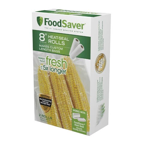 "FoodSaver FSFSBF0526-NP Microwave-Safe Vacuum-Seal Roll, 8"" x 20', 2 Pack"