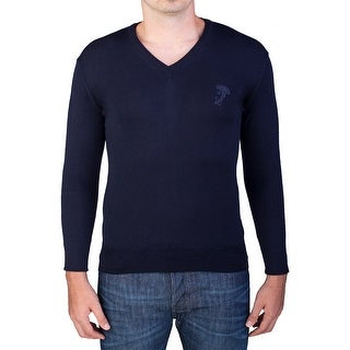 Versace Men's Medusa Head V-Neck Sweater Navy