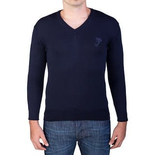 Versace Men's Medusa Head V-Neck Sweater Navy|https://ak1.ostkcdn.com/images/products/is/images/direct/efdef3ffbb7f17e566b3c881da5c88356926e1fa/Versace-Men%27s-Medusa-Head-V-Neck-Sweater-Navy.jpg?impolicy=medium