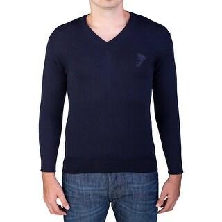 Versace Men's Medusa Head V-Neck Sweater Navy