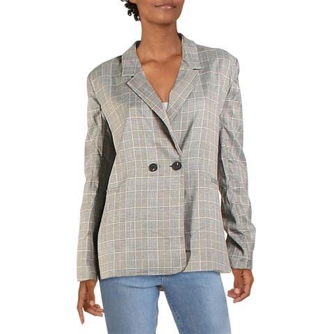 Aqua Womens Blazer Plaid Oversized - Black/Brown
