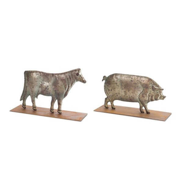 """Set of 2 Gold Assorted Distressed Finish Metallic Pig and Cow Figurine 16"""""""