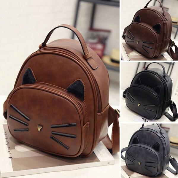 e7c2a4338de Shop Women's Faux Leather Cartoon Cat Pattern Backpack Travel ...