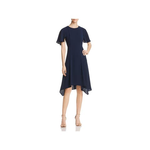 Donna Karan Womens Scuba Dress Flutter Sleeve Asymmetric