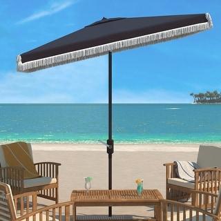 Link to SAFAVIEH Outdoor Living Milan 6.5 x 10 Rectangular Crank Umbrella, Base Not Included Similar Items in Patio Umbrellas & Shades