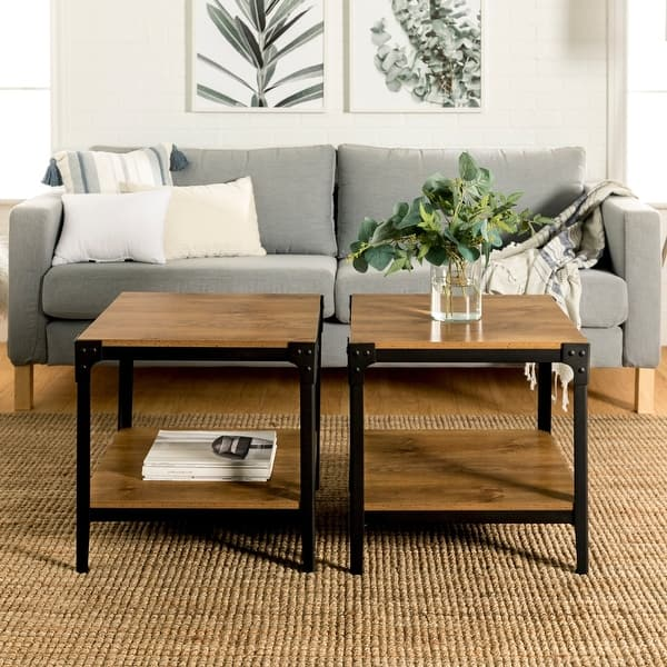 Carbon Loft Witten Angle Iron Side Tables Set Of 2 Barnwood On Sale Overstock 20616468