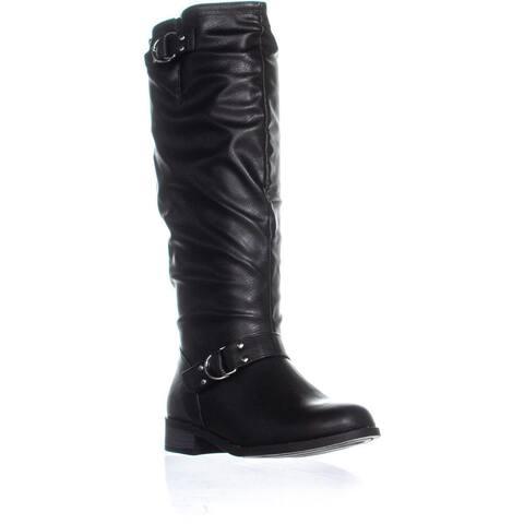 XOXO Minkler Wide Calf Mid Calf Riding Boots, Black