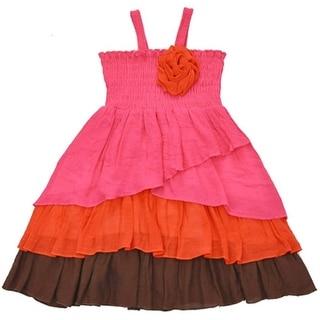 Lele Girls Fuchsia Orange Smocked Top Rosette Accent Ruffle Dress
