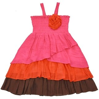 Lele Little Girls Fuchsia Orange Smocked Top Rosette Accent Ruffle Dress
