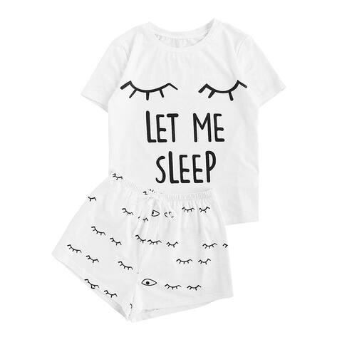WDIRARA Women's Sleepwear Closed Eyes Print Tee and Shorts, White, Size X-Large