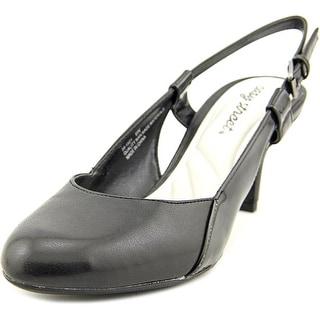 Easy Street Kyla Women WW Round Toe Leather Black Slingback Heel