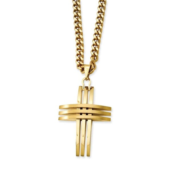 Stainless Steel IP Gold-plated Cross Necklace (4 mm) - 24 in