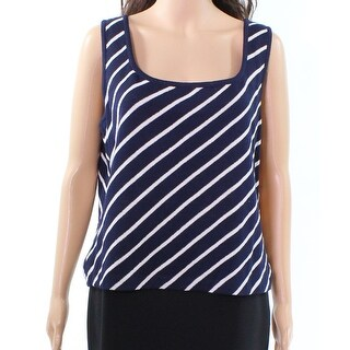 St. John NEW Navy Blue White Womens Size Large L Striped Knit Tank Top