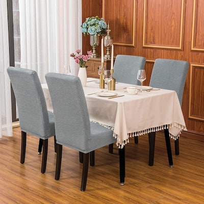 Subrtex 4 PCS Stretch Dining Chair Slipcover Textured Grain Cover
