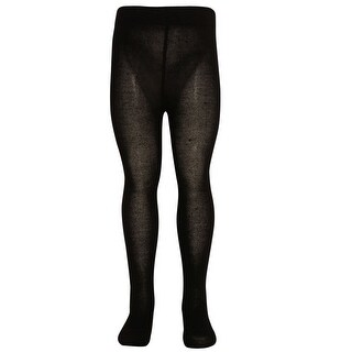 Mopas Girls Black Opaque High Waisted Stretchy Footed Tights 7-14