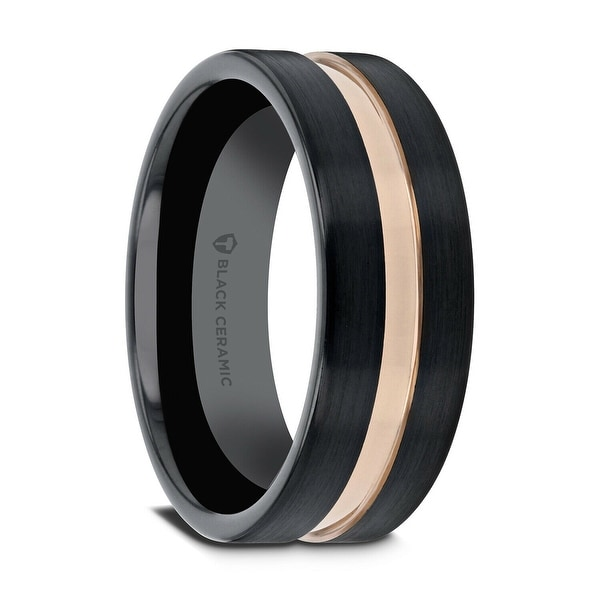 Precise Stainless Steel Striped 8mm Black Plated Brushed/ Wedding Ring Band Size 12.50 Jewelry & Watches