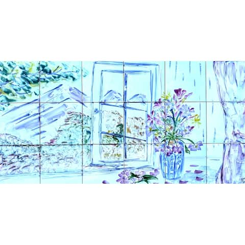 36in x 18in Mountain View Mosaic 18pc Tile Ceramic Wall Mural