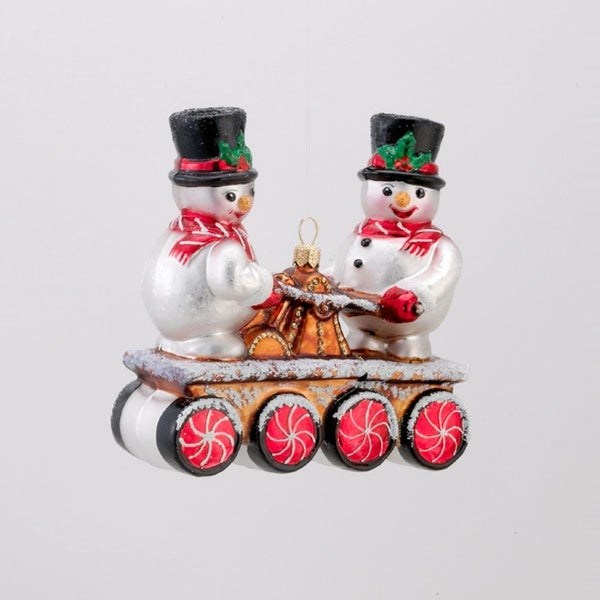 "4.75"" David Strand Designs Glass Snowmen on Railroad Handcar Christmas Ornament - WHITE"