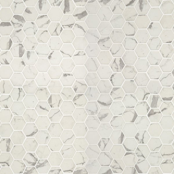 "MSI SMOT-GLS-STA6MM 2"" x 2"" Hexagon Mosaic Tile - Semi-Gloss Glass Visual - Sold by Carton (14.7 SF/Carton) - Celano"