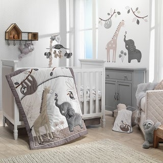 Link to Lambs & Ivy Baby Jungle Animals 4-Piece Gray/White/Taupe Crib Bedding Set Similar Items in Bedding Sets