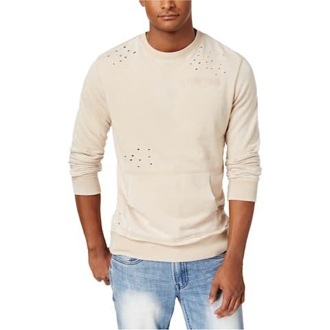 American Rag Mens Deconstructed Sweatshirt, Beige, Large