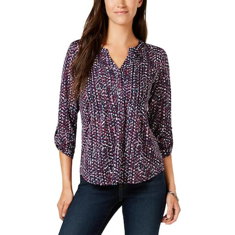 NY Collection Womens Petites Henley Top Printed Pleated