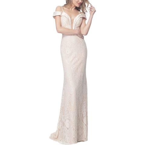 Jovani Plus Lace Prom Formal Dress - Champagne