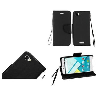 Insten Black Leather Case Cover Lanyard with Stand/ Wallet Flap Pouch For BLU Studio Energy