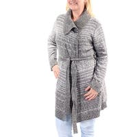 STYLE & CO Womens Gray Belted Long Sleeve Open Sweater  Size: L