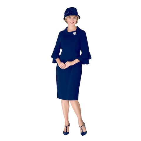 Giovanna Signature Women's Cowl Neck Dress with Brooch