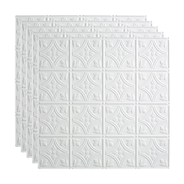 Fasade Traditional Style Pattern 1 Decorative Vinyl 2ft X 2ft Lay In Ceiling Tile In Matte White 5 Pack Overstock 32192343