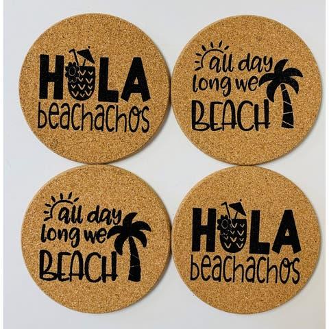 Hola Beachachos All Day Long We Beach Palm Tree Cork Drink Coasters Set of 4