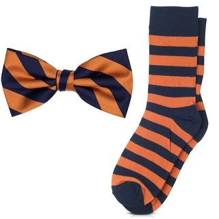 Jacob Alexander Matching College Stripe Dress Socks and Bow Tie - One size (More options available)