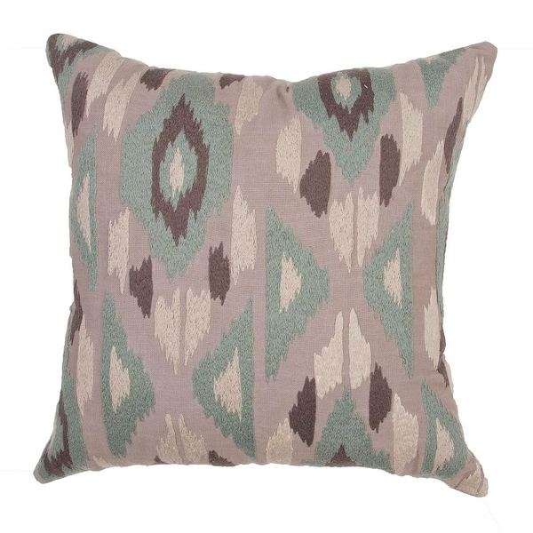 "22"" Sierra Brown, Sage Green and Cream Cotton Tribal Pattern Indoor Decorative Throw Pillow"