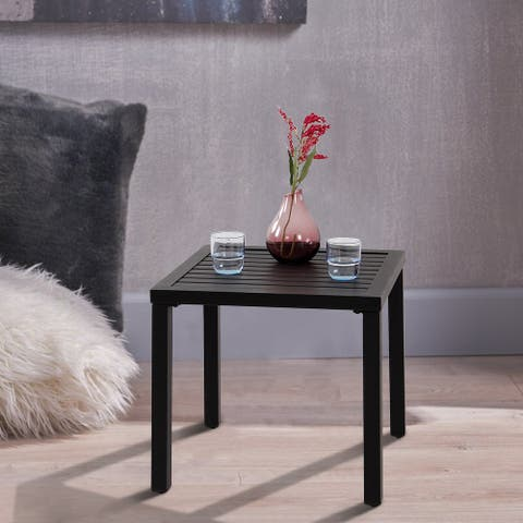 Claribelle Black Metal Small Square Side/ End Table by Havenside Home