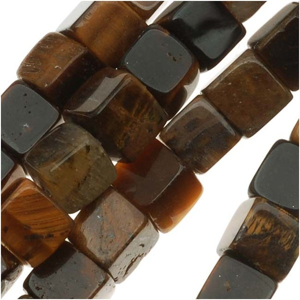 Tiger Tigers Eye Gem 4mm Cube Beads - 16 Inch (Brown & Gold)