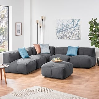 Markham Indoor Contemporary Fabric 5 Seater Bean Bag Sectional with Ottoman by Christopher Knight Home