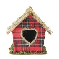 "5.25"" Red Paid with Heart Shaped Door Christmas Birdhouse Ornament"
