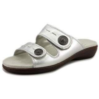 Trotters Kitty Women Open Toe Leather Silver Slides Sandal