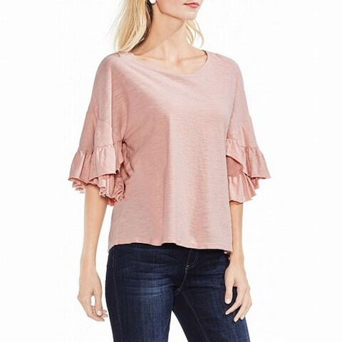 Vince Camuto Pink Womens Size Small S Tiered Ruffle-Sleeve Knit Top