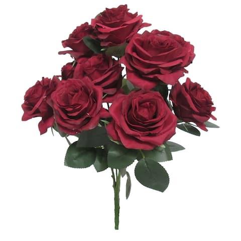 Set of 2 Queen Rose Flower Stems Bush Bouquet 18in
