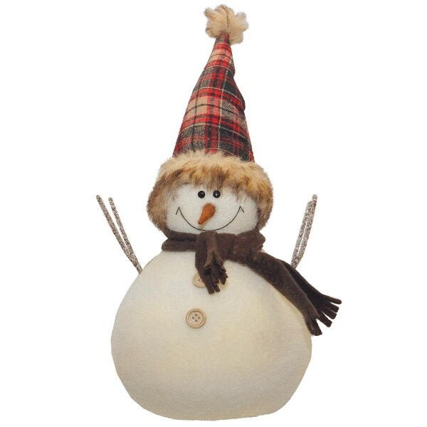 """10.75"""" Snowman with Red and Black Plaid Hat Christmas Tabletop Decoration - WHITE"""