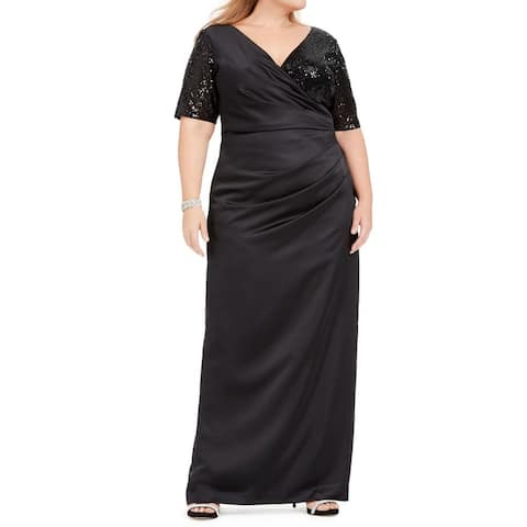 Adrianna Papell Women's Dress Black Size 18W Plus Gown V-Neck Sequin